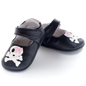 Jack & Lily Black Leather Pink Bow Skull Flat Shoes 18-24 months
